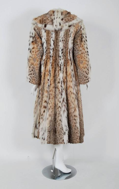 Women's 1960's Ben-Ric Couture Genuine Lynx Fur Spotted Cat Shawl-Collar Princess Coat