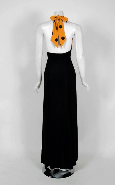 1970's Ossie Clark Black & Yellow Polka-Dot Moss Crepe Halter Plunge Maxi Dress 4