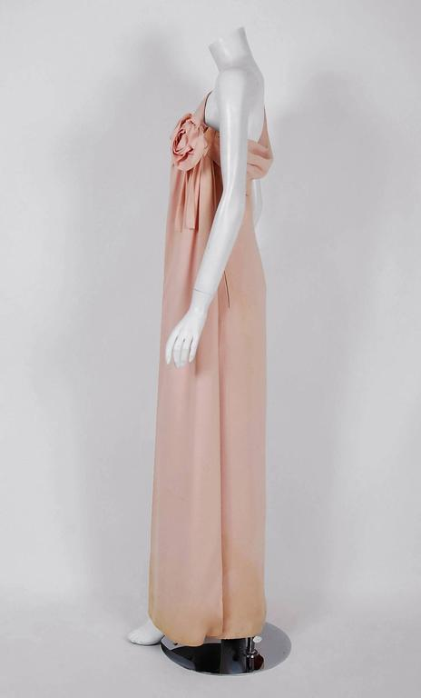 1961 Christian Dior Haute-Couture Documented Champagne Pink Silk Goddess Gown 3