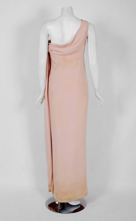 1961 Christian Dior Haute-Couture Documented Champagne Pink Silk Goddess Gown For Sale 1