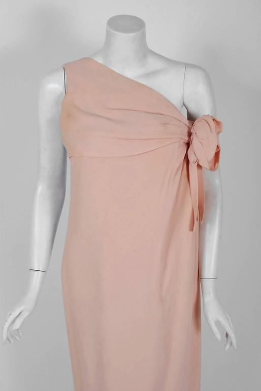 1961 Christian Dior Haute-Couture Documented Champagne Pink Silk Goddess Gown In Good Condition For Sale In Beverly Hills, CA