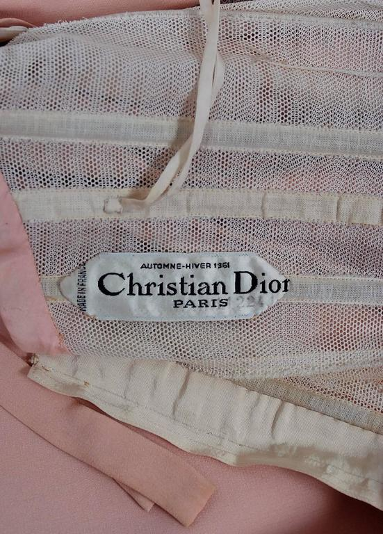 1961 Christian Dior Haute-Couture Documented Champagne Pink Silk Goddess Gown For Sale 2