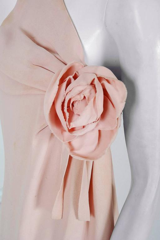Women's 1961 Christian Dior Haute-Couture Documented Champagne Pink Silk Goddess Gown For Sale