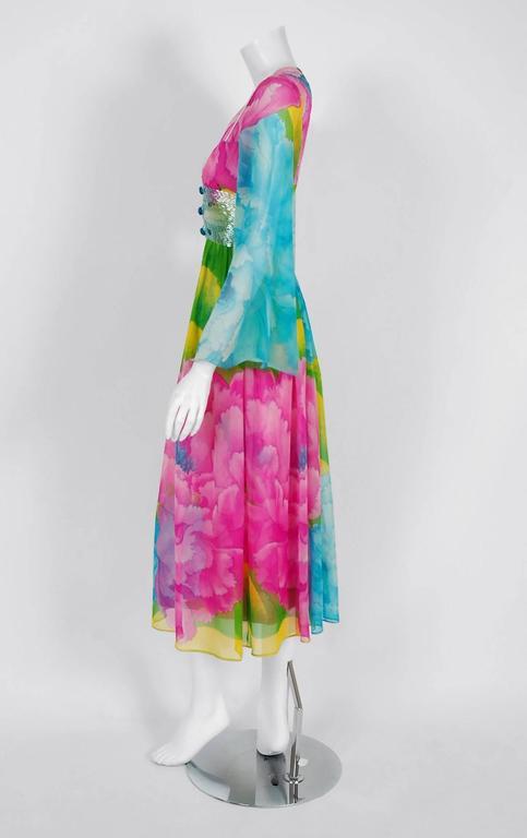 Women's 1972 Hanae Mori Couture Beaded Floral Print Silk Chiffon Angel-Sleeve Dress  For Sale