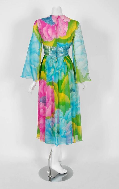 1972 Hanae Mori Couture Beaded Floral Print Silk Chiffon Angel-Sleeve Dress  For Sale 1