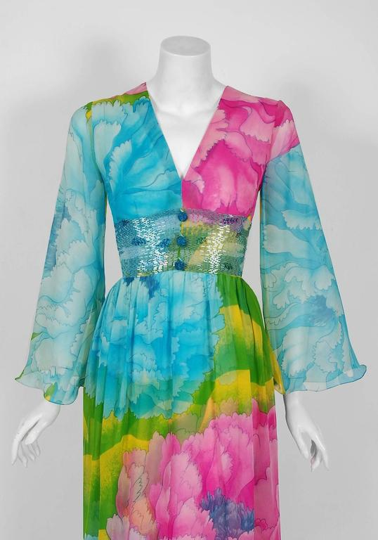 1972 Hanae Mori Couture Beaded Floral Print Silk Chiffon Angel-Sleeve Dress  2