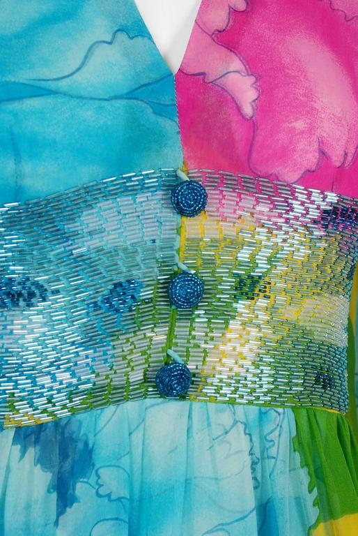 Gray 1972 Hanae Mori Couture Beaded Floral Print Silk Chiffon Angel-Sleeve Dress  For Sale