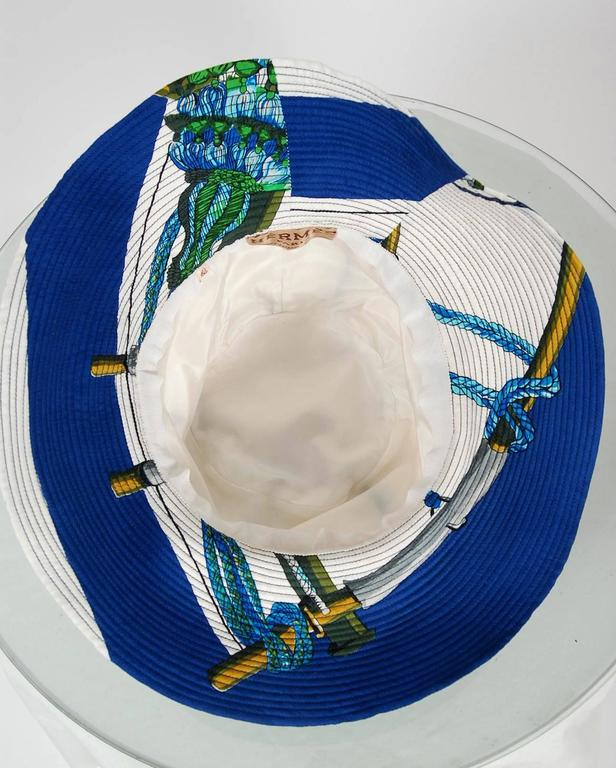 1960's Hermes Paris Colorful Nautical Novelty Silk-Twill Bucket Hat w/ Box 4