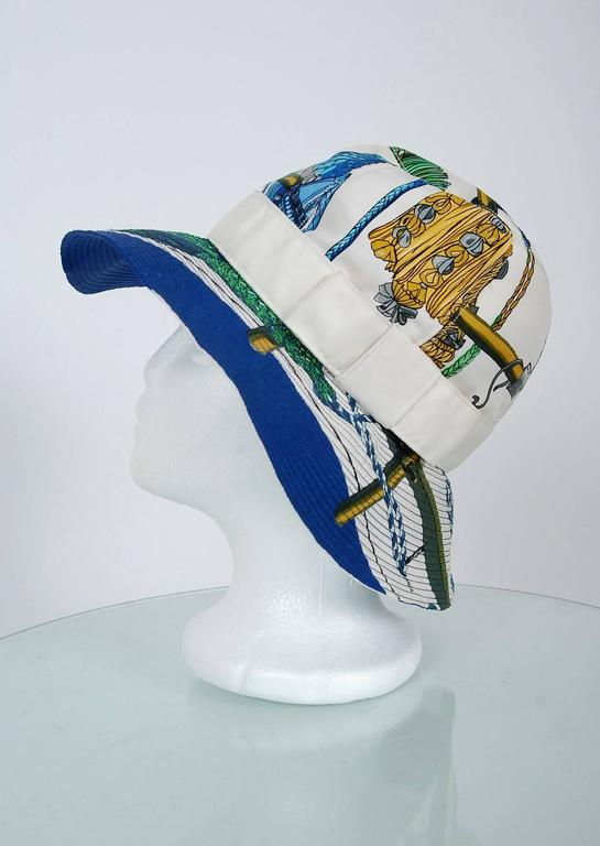 1960's Hermes Paris Colorful Nautical Novelty Silk-Twill Bucket Hat w/ Box 2