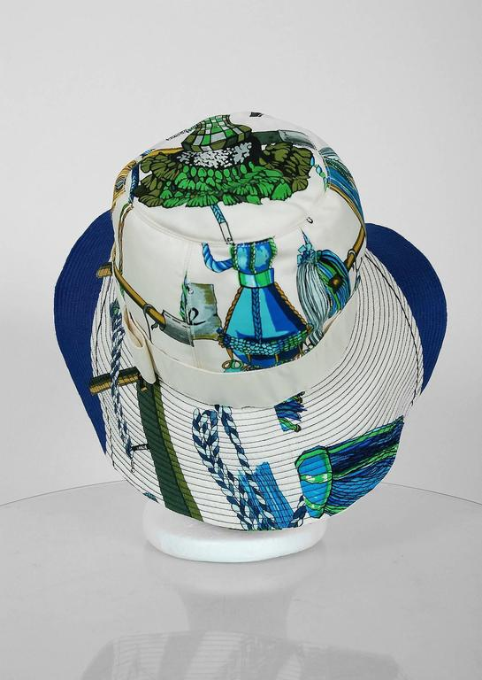 1960's Hermes Paris Colorful Nautical Novelty Silk-Twill Bucket Hat w/ Box 3