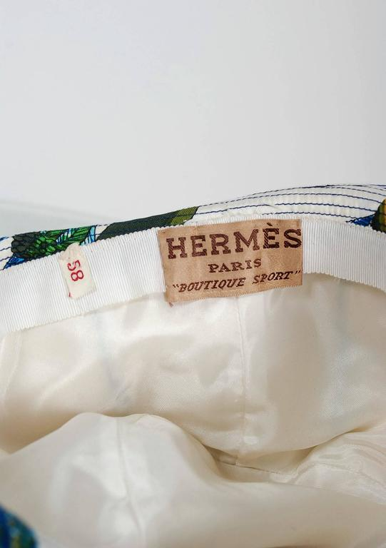 1960's Hermes Paris Colorful Nautical Novelty Silk-Twill Bucket Hat w/ Box 5