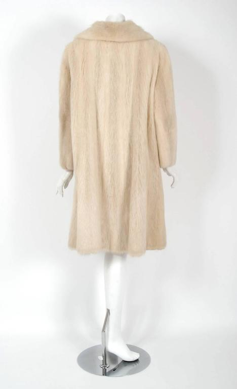 1964 Pierre Cardin Genuine Blonde Mink-Fur Tailored Stroller Jacket Swing Coat 4