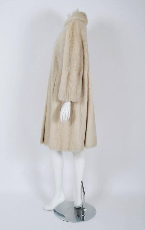 1964 Pierre Cardin Genuine Blonde Mink-Fur Tailored Stroller Jacket Swing Coat 3