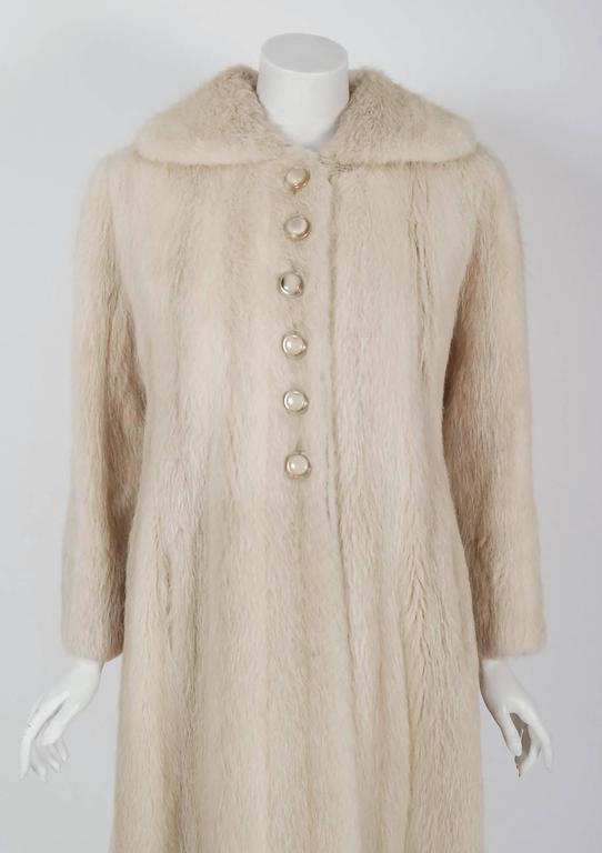 1964 Pierre Cardin Genuine Blonde Mink-Fur Tailored Stroller Jacket Swing Coat 2