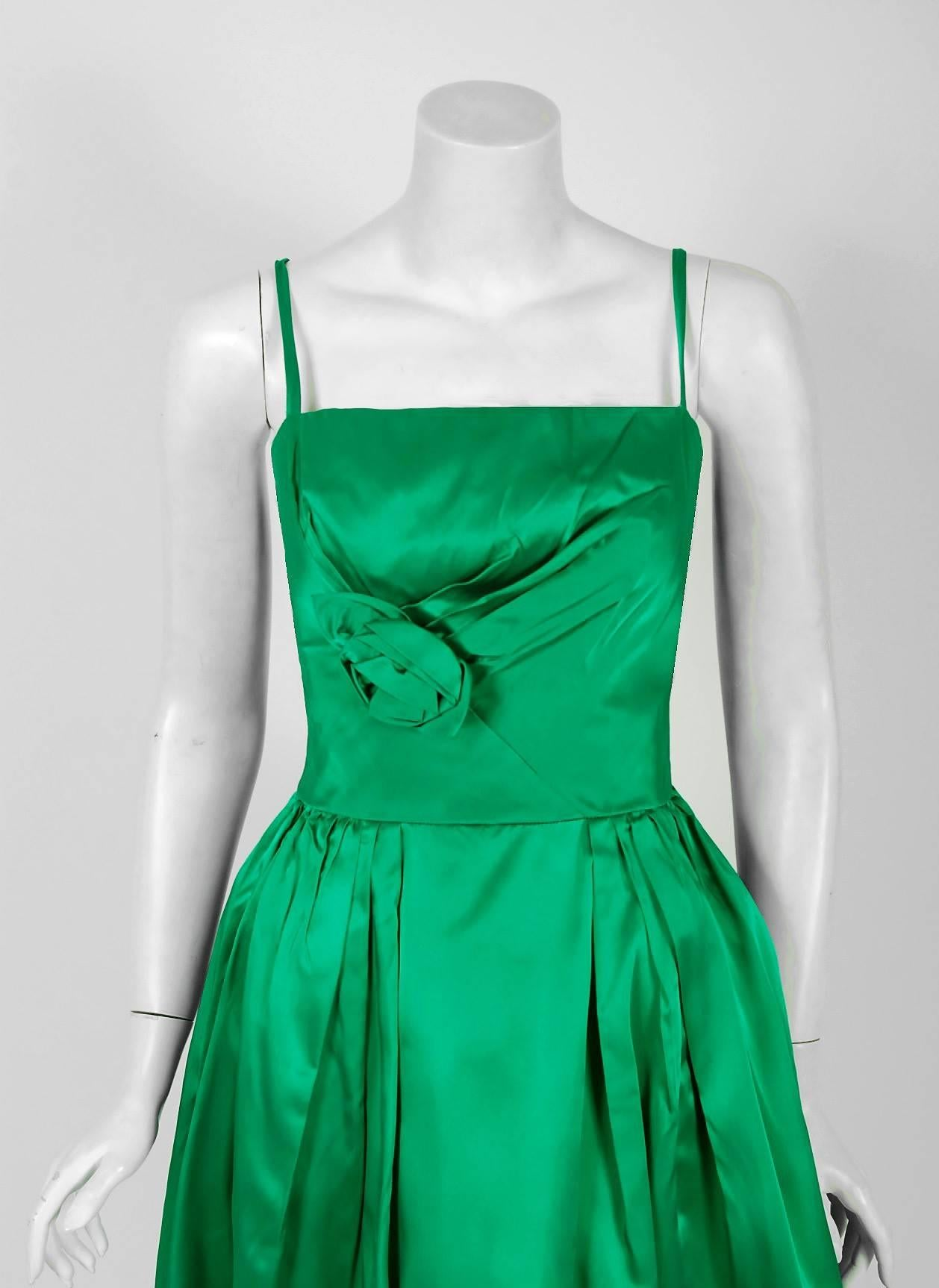 1950\'s Elegant Emerald-Green Satin Sculpted Rose Applique Dress and ...