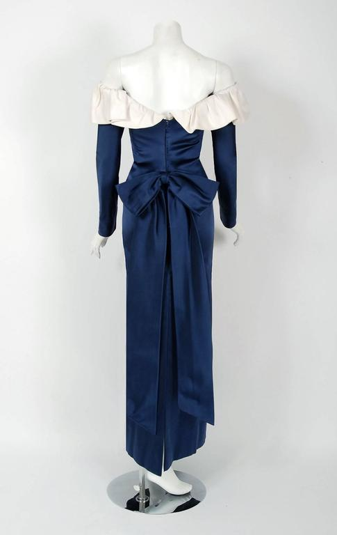 Women's 1979 Givenchy Haute-Couture Navy & Ivory Satin Off-Shoulder Ruffle Evening Gown For Sale