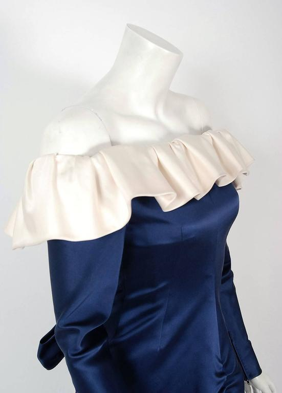 1979 Givenchy Haute-Couture Navy & Ivory Satin Off-Shoulder Ruffle Evening Gown In Excellent Condition For Sale In Beverly Hills, CA