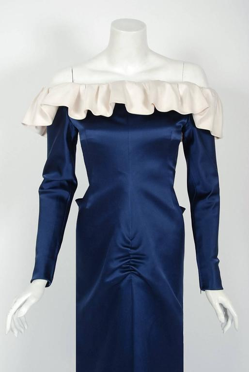 Black 1979 Givenchy Haute-Couture Navy & Ivory Satin Off-Shoulder Ruffle Evening Gown For Sale