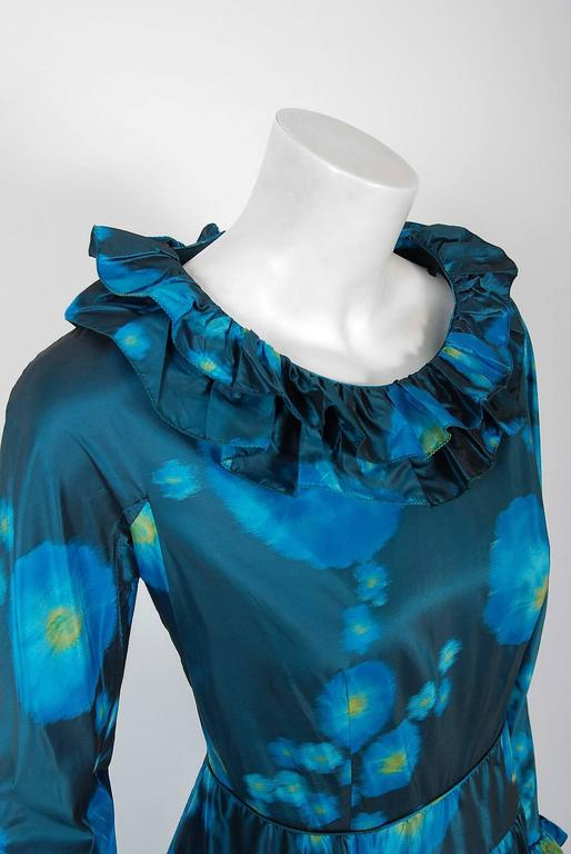 1966 Arnold Scaasi Couture Watercolor Blue Floral Silk