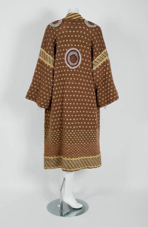 1974 Bill Gibbs Colorful Metallic Hand-Knit Wool Applique Kimono Sweater Jacket 6