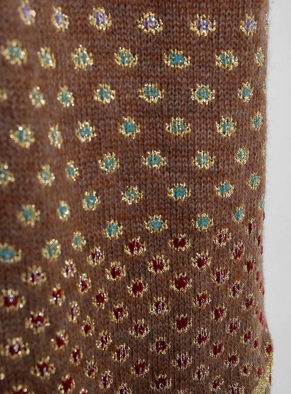 1974 Bill Gibbs Colorful Metallic Hand-Knit Wool Applique Kimono Sweater Jacket 3