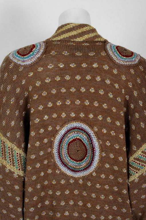 1974 Bill Gibbs Colorful Metallic Hand-Knit Wool Applique Kimono Sweater Jacket 7