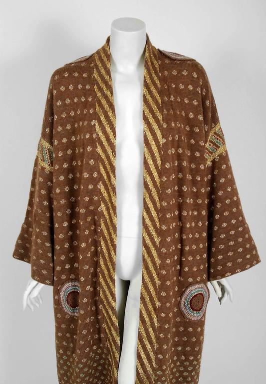 1974 Bill Gibbs Colorful Metallic Hand Knit Wool Applique Kimono