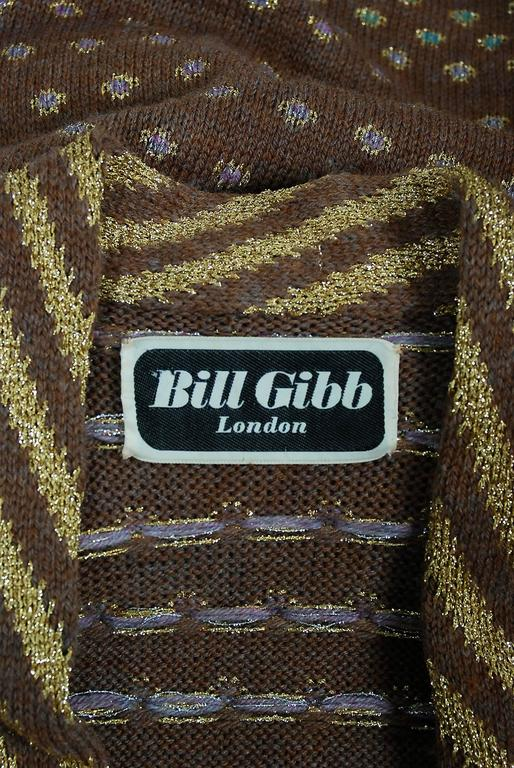 1974 Bill Gibbs Colorful Metallic Hand-Knit Wool Applique Kimono Sweater Jacket 8