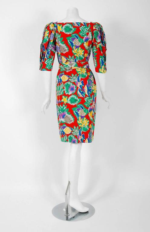 1981 Yves Saint Laurent Colorful Novelty Fish Print Cotton Puff-Sleeve Dress  For Sale 1