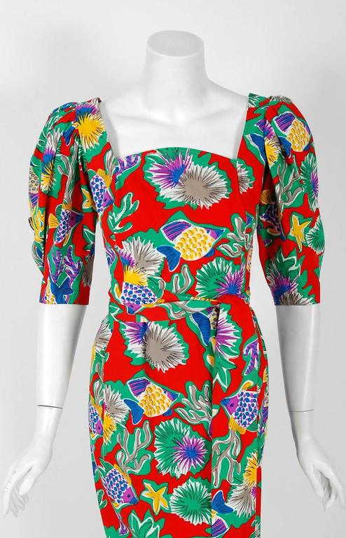 Brown 1981 Yves Saint Laurent Colorful Novelty Fish Print Cotton Puff-Sleeve Dress  For Sale