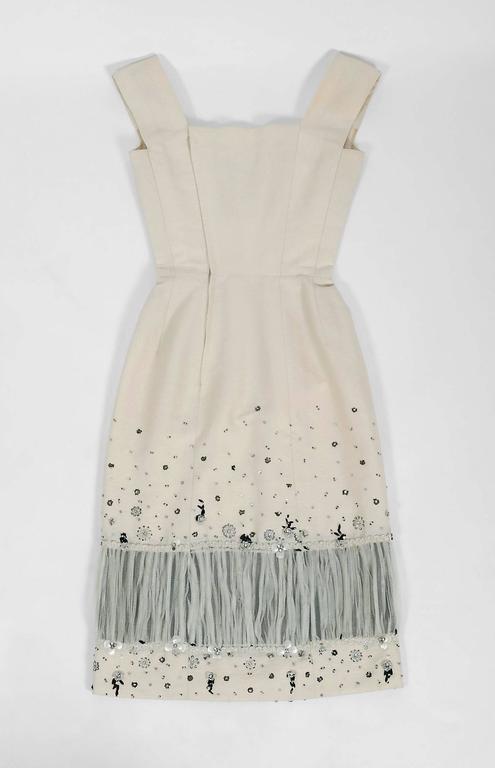Vintage 1955 Sorelle Fontana Couture Beaded Ivory Silk Tulle Shelf-Bust Dress  For Sale 2