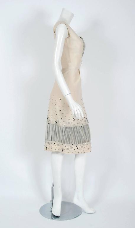 Vintage 1955 Sorelle Fontana Couture Beaded Ivory Silk Tulle Shelf-Bust Dress  For Sale 1