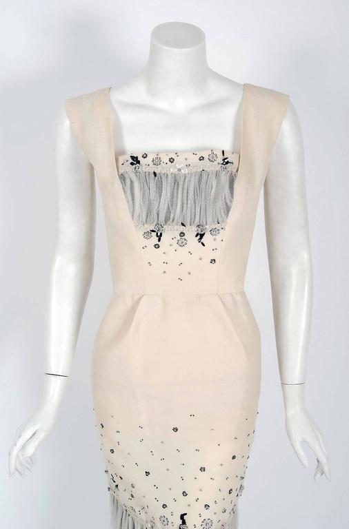 Beige Vintage 1955 Sorelle Fontana Couture Beaded Ivory Silk Tulle Shelf-Bust Dress  For Sale