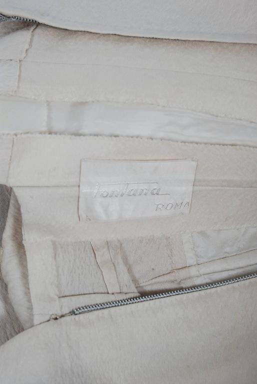 Vintage 1955 Sorelle Fontana Couture Beaded Ivory Silk Tulle Shelf-Bust Dress  For Sale 3