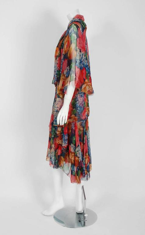 1920 S Watercolor Floral Garden Print Silk Chiffon Tiered