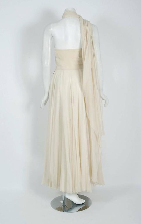 Vintage 1940's Saks Fifth Avenue Ivory Beaded Chiffon One-Shoulder Bridal Gown For Sale 1