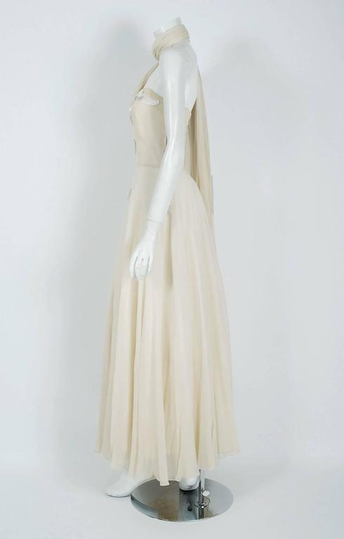 Women's Vintage 1940's Saks Fifth Avenue Ivory Beaded Chiffon One-Shoulder Bridal Gown For Sale