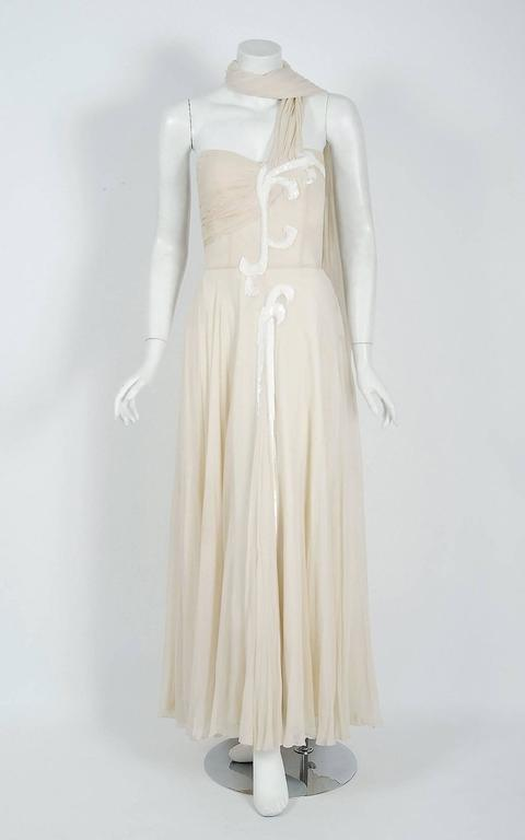 Vintage 1940's Saks Fifth Avenue Ivory Beaded Chiffon One-Shoulder Bridal Gown In Fair Condition For Sale In Beverly Hills, CA