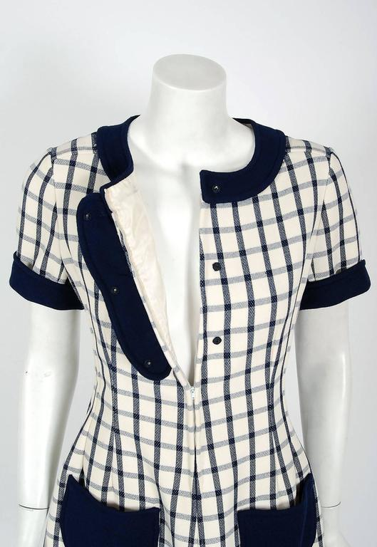1967 Courreges Couture Navy-Blue Ivory Checkered Wool Mod Space-Age Mini Dress 5