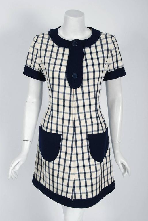 Gray 1967 Courreges Couture Navy-Blue Ivory Checkered Wool Mod Space-Age Mini Dress For Sale