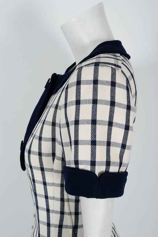 1967 Courreges Couture Navy-Blue Ivory Checkered Wool Mod Space-Age Mini Dress For Sale 1