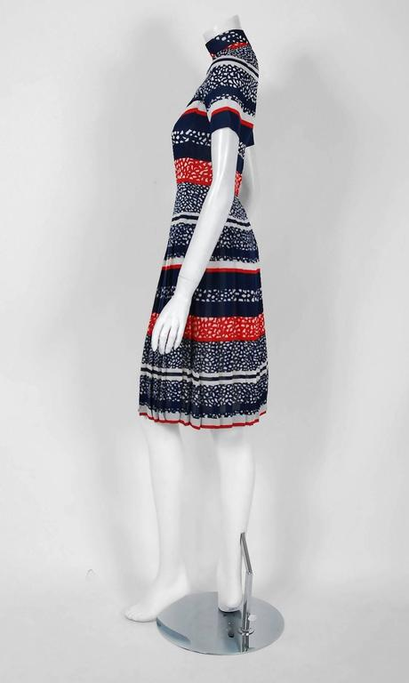 Vintage 1968 Christian Dior Couture London Stripe Silk Pleated Drop-Waist Dress In Good Condition For Sale In Beverly Hills, CA