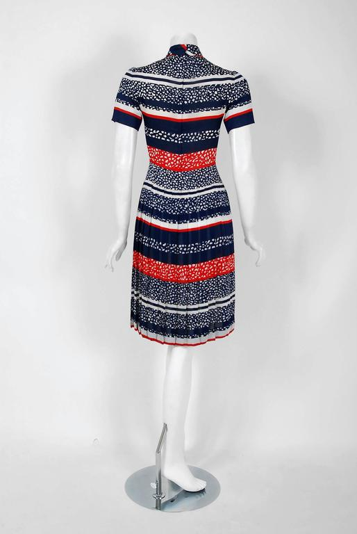 Women's Vintage 1968 Christian Dior Couture London Stripe Silk Pleated Drop-Waist Dress For Sale