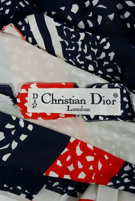 Vintage 1968 Christian Dior Couture London Stripe Silk Pleated Drop-Waist Dress For Sale 1