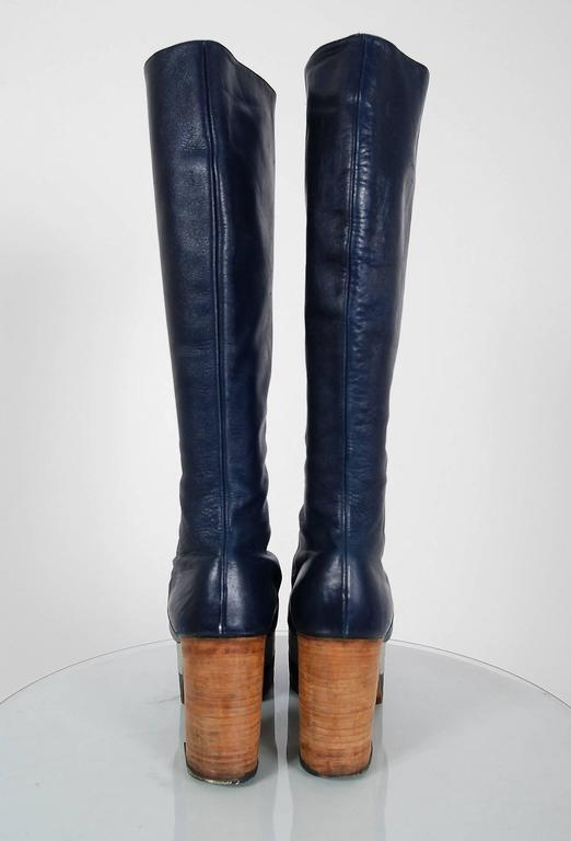 1970's Blue & Silver Leather Novelty Hearts Knee-High Platform Glam-Rock Boots 7