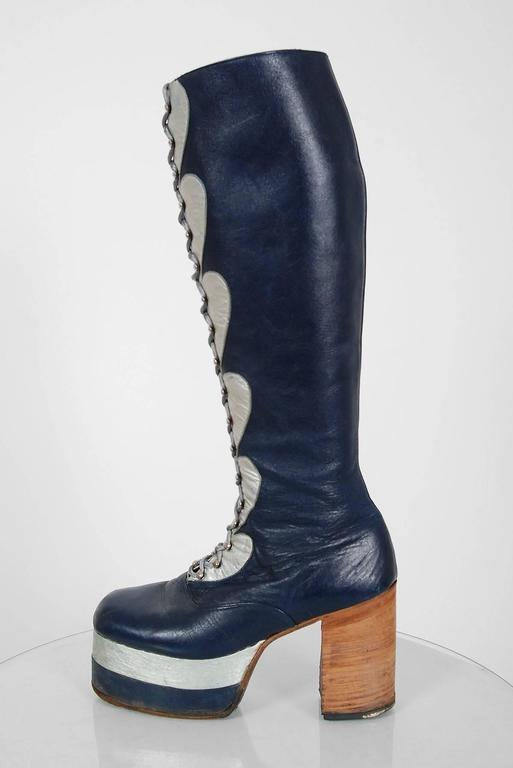 1970's Blue & Silver Leather Novelty Hearts Knee-High Platform Glam-Rock Boots 2