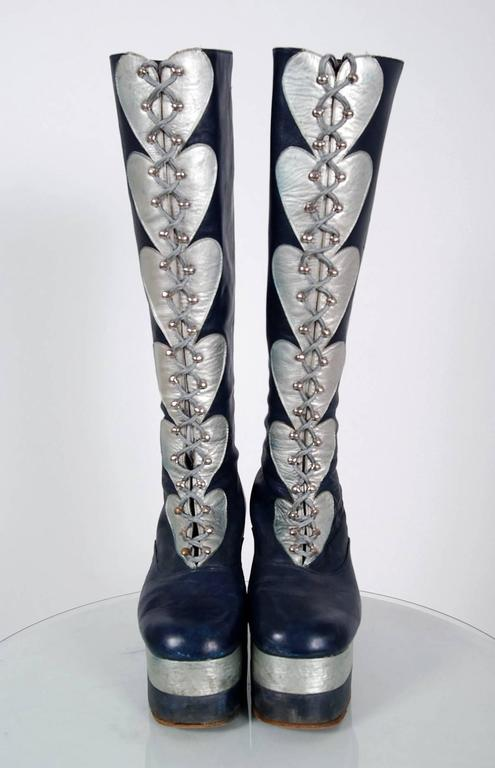 1970's Blue & Silver Leather Novelty Hearts Knee-High Platform Glam-Rock Boots 4