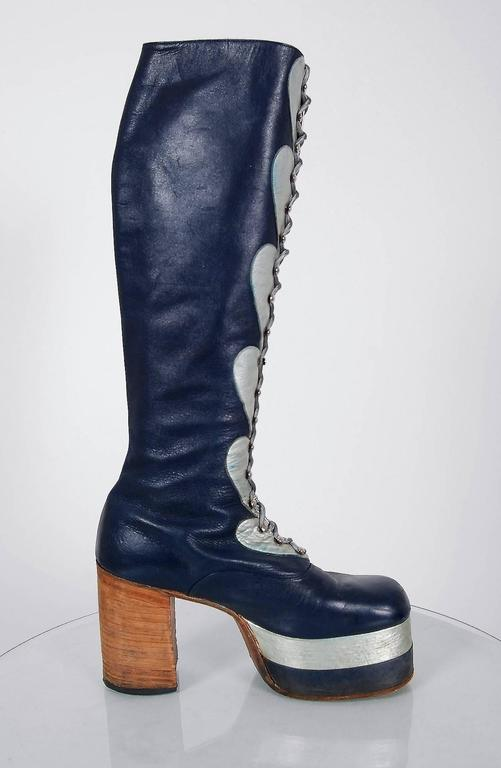1970's Blue & Silver Leather Novelty Hearts Knee-High Platform Glam-Rock Boots 3