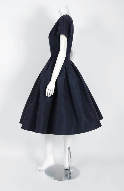 1954 Christian Dior Original Navy Blue Silk Pockets Low-Plunge Full Skirt Dress 4