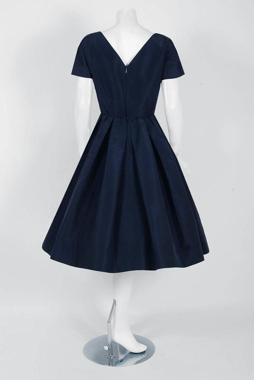 1954 Christian Dior Original Navy Blue Silk Pockets Low-Plunge Full Skirt Dress 6